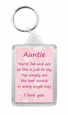 AUNTIE Keyring Keyfob Poem Birthday Christmas Fun Novelty Gift Keepsake
