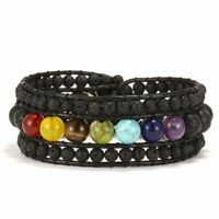 7 Chakra Lava Stone Leather Braided Wristband Beaded Wrap Bracelet Bangle Gift