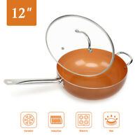 Wok 12' Nonstick Copper Round Saute Pan with Lid for Frying Baking Broiling