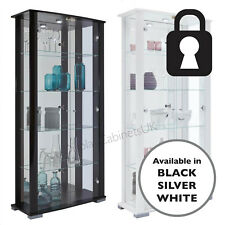 Home Stella 2 Door Glass Display Cabinets Lockable Extra Wide Black White Silver