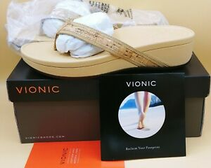 Vionic Pacific Hightide Sandal Thong With Vio-Motion Support in Gold Cork Sz 9W