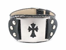 Fashion Black Leather Bracelet Cuff w/ Silver Cross NEW