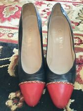 vintage CHANEL navy blue & red high HEELS leather SHOES chain trim PUMPS 6.5