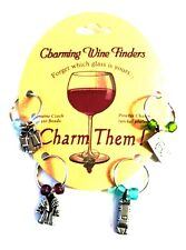 New Set of 4 Pewter Wine Charms