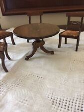 Swedish Vintage Doll House Wood Pedestal Table 4 Chairs  With Upholstered Seat