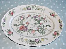 """Vintage Crown Ducal Chinese Garden Oval Serving Platter Meat plate  14"""" X 10.5""""."""