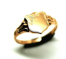 KAEDESIGNS NEW CHILDS SOLID 9CT 9KT ROSE GOLD SHIELD SIGNET RING
