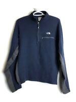 The North Face Fleece Jacket Mens Medium Blue Navy Gray 1/4 Zip Sweater Pullover