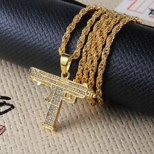 "Unisex Hip Hop Gold Plated Rhinestone Machine Gun Pendant  Necklace 28"" Chain"