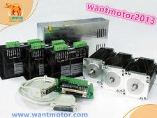 DE Free 3Axis Nema23 stepper motor 425oz-in WT57STH115-4204B,dual shaft&Driver