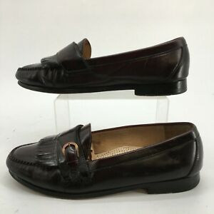 Cole Haan Pinch Buckle Kiltie Loafer Men 10.5 E Burgandy Leather Slip On Casual
