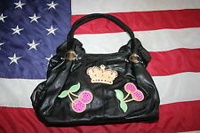 Black Embellished Retro Purse Size Medium: satchel/handbag/tote/shoulder 3314