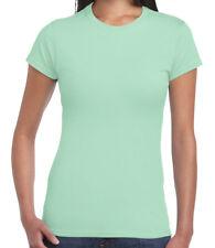 Ladies Gildan T-Shirt Plain Womens Softstyle Tee Soft White Black Top Size 6-16