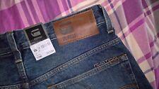 BNWT encantador G-Star Raw 3301 ahusada Hombres Jeans-Talla W32 L34