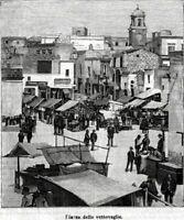 Brindisi: Piazza del Mercato.Stampa Antica + Passepartout. 1899