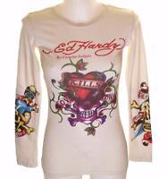 NUEVA, Para Dama Ed Hardy manga larga Specialty Camiseta Love Kills Slowly XS
