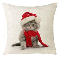 "Santa Cat Chirstmas Pillow Cover 18"" x 18"""