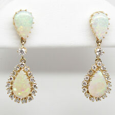 14K Yellow Gold Fancy Ladies Drop Dangle Earrings Diamonds Australian Opal