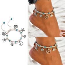 Lady Vintage Bohemian Alloy Starfish Shell Handmade Wave Anklet Bracelet Jewelry