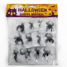 Pack x 12 Halloween Black Spiders & Web – Party Decoration Cobwebs Spider Spooky