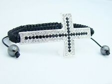 Shamballa bracelet WHITE BLACK CROSS CRUCIFIX  bead friendship macrame