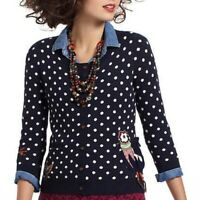 ANTHROPOLOGIE $78 Charlie & Robin Polka Dot Snow Bird Sweater Top Size Small