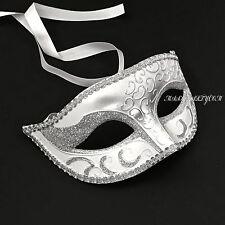 White Silver Venetian Men Elegant Masquerade Mardi Gras Costume Mask