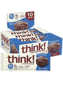 think!( thinkThin) High Protein Bars - Brownie Crunch 20g Protein (10 pack) 2/22