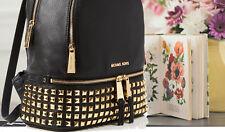 Michael Kors 100% RHEA Backpack Rucksack Bag Black Leather & Goldtone NEW & TAGS