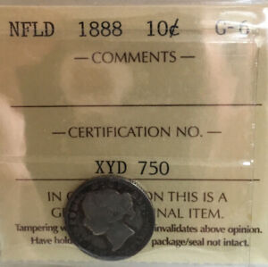 1888 Newfoundland 10 Cent Silver Ten Cent Coin - ICCS 6G Low Mintage - Rare