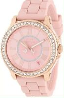 JUICY COUTURE PEDIGREE ROSE GOLD TONE SILICONE STRAP WATCH 1901054 New!