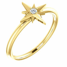 Diamond Solitaire Star Ring In 14K Yellow Gold ( Size 7 )