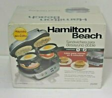 Hamilton Beach Dual Breakfast Sandwich Maker W/ Timer, Silver #25490 New!