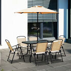 Outsunny 8 Pieces Dining Set Furniture Foldable Chair Table Parasol Beige Garden