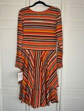 Nwt Lularoe Xl Georgia Dress Red/Pink, Black, Yellow, and White Stripes