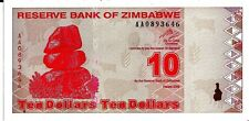 ZIMBABWE 2009 10 DOLLARS CURRENCY UNC