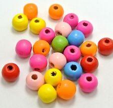 20 perles en bois brillant 12mm couleur mixte 12 mm Attache tetine, bracelet...
