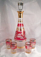 Estate Czechoslovakia Bohemian Decanter Set Cranberry Cut to Clear Crystal
