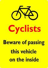 2 LARGE CYCLIST BEWARE HGV Crossrail Compliant Sticker 220mm x 310mm Portrait