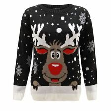New Size 16 18 Men Ladies Women Knitted Black Xmas Christmas Jumper Sweater Top