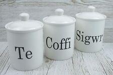 Te Coffi Sigwr Set 3 (3041) Tea Coffee Sugar Canisters Welsh Black White Ceramic