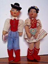 Vintage Pair International Hungary Boy And Girl Dolls Felt Cloth Ethnic Costumes