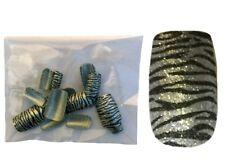 24 Faux ongles motif zèbre - argentés & noirs - pailleté - vendu sans colle