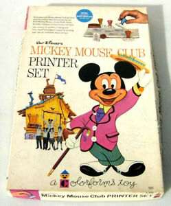 Mickey Mouse Club Printer Set Colorforms Walt Disney Stamps 1962 Dry Ink
