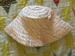 NWT Gymboree 2002 Spring Blossom Pink Rose Stripe Sun Bucket Hat 0-6 months
