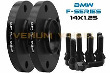 2- BMW F-Series Models 17mm Black Wheel Spacers  Hub Centric + 14x1.25 Lug Bolts