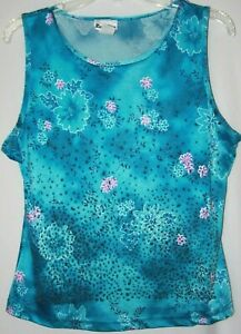 Rave City Womens/Juniors  XL Blue Floral Embellished Sleeveless Top