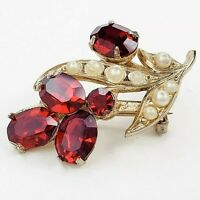 Coro Vintage Gold Tone Red Rhinestone and Faux Pearl Brooch Pin