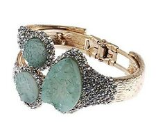 Catwalk 2018 Worn Gold & Green Statement Druzy Look Bangle w/ Swarovski Crystals