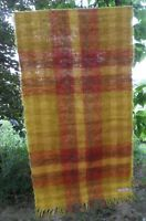 Vtg HUDSON BAY MOHAIR BLANKET THROW SCARF SHAWL SCOTLAND Tartan Orange Yellow